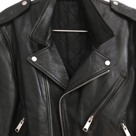 3d29182f Sandro Jackets & Coats   Mens Biker Jacket Black Calfskin Leather M ...